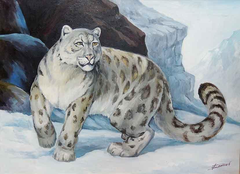 Картинки снежного барса нарисованные