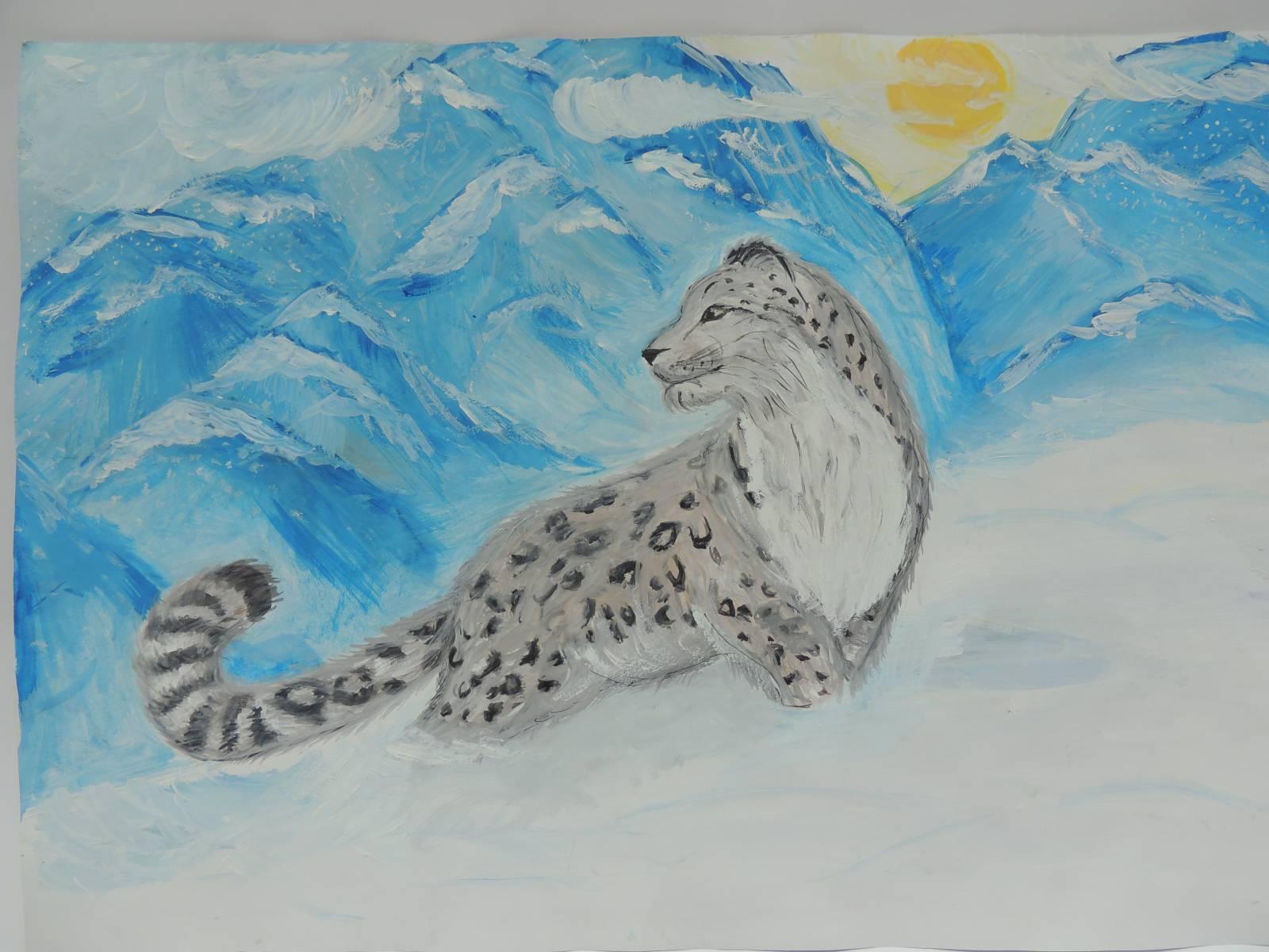 Картинка как нарисовать снежного барса
